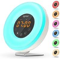 [Upgraded Version] Wake Up Light, Apiker Sunrise Alarm Clock with Sunrise Simulation and Sunset Simulation, Bedside Colorful Night Light with Snooze Function, 6 Nature Sounds, FM Radio