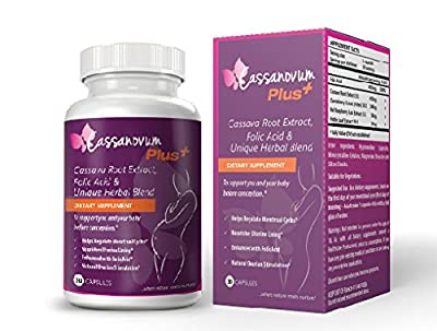 Cassanovum 825 mg Plus Fertility Supplement contains Cassava Root Extract/Folic Acid and Unique Herbal Blend - 30 Capsules from Cassanovum