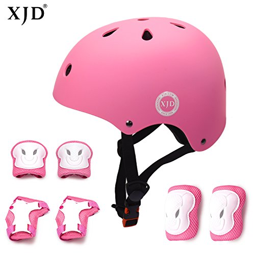 XJD Kinder Sport Schutzausrüstung Set Helm mit Luftlöcher Ellenbogenschoner Knieschoner Handgelenkschoner Schützer Set Verstellbar für Fahrrad Motorrad Skateboard Schifahren 3-8 Jahres Junge Mädchen