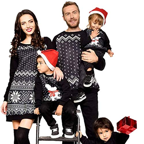 Riou Weihnachten Baby Kleidung Set Kinder Pullover Pyjama Outfits Set Familie Frauen Familie Passenden Weihnachten Pyjamas PJs Kleid Nachtwäsche (L, Mom)