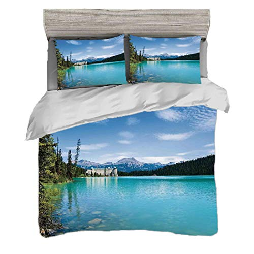 Bettwäscheset (220 x 240cm) mit 2 Kissenbezügen Lake Decor Digitaldruck Bettwäsche Foto des historischen alten Schlosses durch Crystal Color Lake Canadian Rurals Art, Türkisgrün Pflegeleicht antialler -