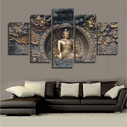zyzdsd Wandkunst Bilder Leinwand Poster Modulare5 Panel Buddha Statue Buddhismus Kunst Landschaft Wohnkultur Hd Gedruckt Malerei (Kein Rahmen)