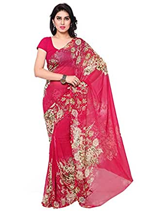 Surat Tex Women's Dani Georgette Printed Saree with Blouse Piece (Pink)