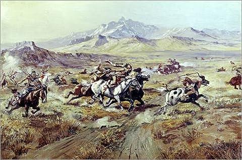 Alu Dibond 30 x 20 cm: Stagecoach Attack von Charles Marion Russell / Bridgeman Images