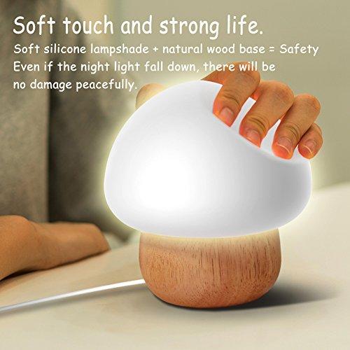 NNIUK Nachtlicht kinder LED Pilzlampe Silikon mit drahtloser ...