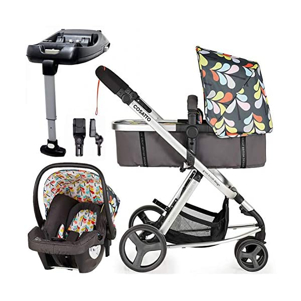 Cosatto Giggle Mix pram and Pushchair Nordik with car seat Base & raincover Cosatto Includes: Chassis,Seat unit, Hold Car seat,Isofix base,Car seat adaptors,Raincover, Apron and 4 Year guarantee(UK and Ireland only) Suitable from birth up to 15kg. One unit transforms from newborn pram mode into pushchair mode. Space saving. No need to buy separate carrycot.. Colour packs available so you can change the look to suit your mood, family and adventures. Includes hood, pram apron and padded pushchair apron. 1