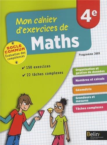 Mon cahier d'exercices de maths 4e