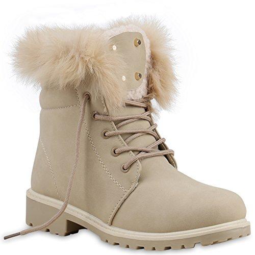 Worker Boots Unisex Damen Herren Outdoor Stiefeletten Zipper Warm Gefüttert Creme Gold Echtfell