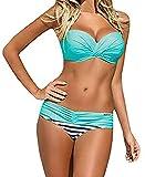 Traje De Baño Bikini-Mujer Push-up Acolchado Bra Bikini Verano Trajes de baño Rayas Tops y Braguitas (M,...