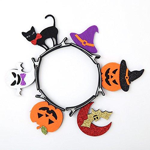 XY Fancy 6pcs Kinder Mädchen Halloween Kostüme Schmuck Haar Klipp Katze/Kürbis / Fledermäuse / Geist Sahpe Haar Bögen Mädchen Haar Zusätze Haarnadel (Kostüme Katze Für Kleinkinder Halloween)