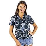 KING KAMEHA Funky Hawaiian Shirt Blouse Women Shortsleeve Frontpocket Hawaiian-Print Leaves Flowers Allover