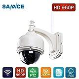 SANNCE 960P IP Caméra en Métal - Caméra de Surveillance wifi(Caméra de Sécurité sans Fil Pan/Title/Zoom IP66 Vision Nocturne Jusqu'à 98 pieds / 30 m)