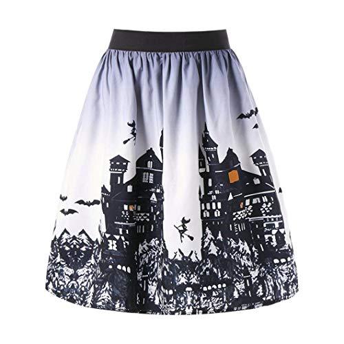 OIKAY Halloween Kleider für hochzeitsgäste Tag Frauen Ombre Schloss Gedruckt Kleid Swing...