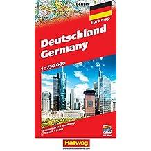 Deutschland Strassenkarte 1:750 000: Mit Orts- und Namensverzeichnis. Transitplänen und Index. e-Distoguide. Free Download on Smart Devices included. (Hallwag Strassenkarten)