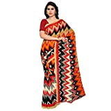 Kashvi Sarees Faux Georgette Red & Multi Colored Printed Saree With Blouse Piece