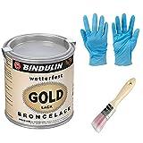 125 ml Goldlack wetterfest & farbtonstabil inkl. Pinsel von E-Com24 zum Auftragen und Nitrilhandschuhe (125 ml)