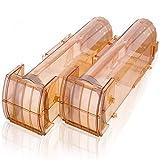 MOHOO 2er Set Mausefalle lebend Wiederverwendbare Mausefalle Effiziente Verwendbar für Indoor Outdoor Kitchen Garden Attic Warenhaus 320 * 85 * 95MM