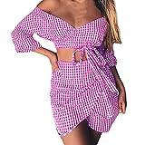 Zarupeng 2Pcs Frauen Verband Gitter Rock Set, Reizvolle Langarm Tiefes V Bluse Kurze Crop Top Sommer Strand Tunika Mini Rock Zweiteiliger Anzug (XL, Rosa)