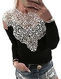 Boutiquefeel Damen Lace Splicing Langarm Schulterfreie Patchwork T-Shirt Tunic Bluse Oberteile Schwarz M