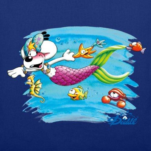 Spreadshirt Diddl Diddlina Als Meerjungfrau Unter Wasser Stoffbeutel Royalblau