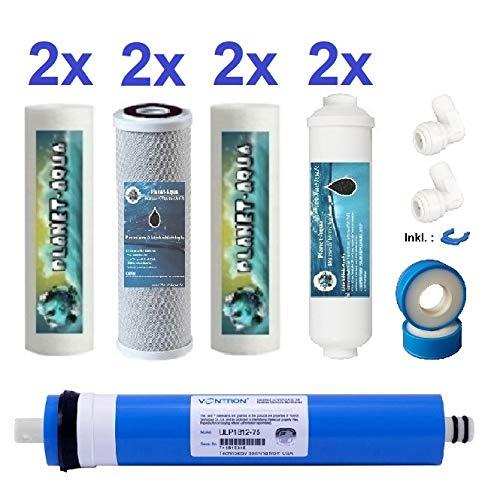Osmose Ersatzfilter Set 10 Zoll mit 100 GPD Membran und Anschlusszubehör für den Aktivkohle Nachfilter. 8x Filterkartusche / Filterpatronen für die Umkehrosmose Osmoseanlage Wasserfilter Anlage