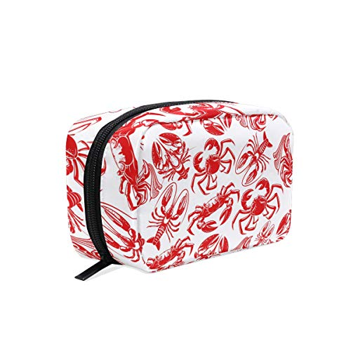 Make-up-Tasche, Seafood Crab Hummer Nahtloses Muster, Rot