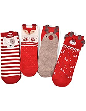 BAINASIQI 4 Paar Socken Set Baby Jungen Mädchen Niedliche Cartoon Tier Socken Herren Damen Baumwolle Socken Weihnachtssocken...