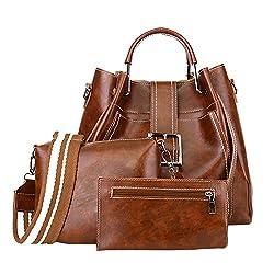 Felicove 3stk Retro Taschen Set, Frauen Reine Farbe Handtasche Leder Abendtasche Reissverschluss Umhängetasche Set Umhängetaschen Handtasche + Umhängetasche + Geldbörse