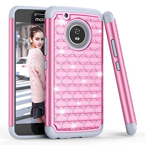 Moto G 5. Gen. Plus Fall, bis (TM) Nieten Strass Kristall Diamant Bling Sparkly Luxus, Hybrid Combo Gummi Kunststoff Defender Rugged Süße Glitzer Schutzhülle, Pink/Grau ()