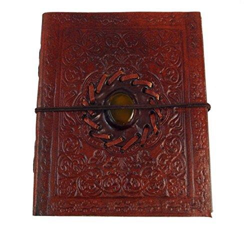 Guru-Shop Notizbuch, Lederbuch, Tagebuch mit Dekostein 12x15 cm, Notizbücher, Tagebücher