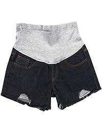 7b91a38b9 Huateng Pantalones Cortos de Maternidad del Verano del Dril de algodón de  la Maternidad Ocasional del