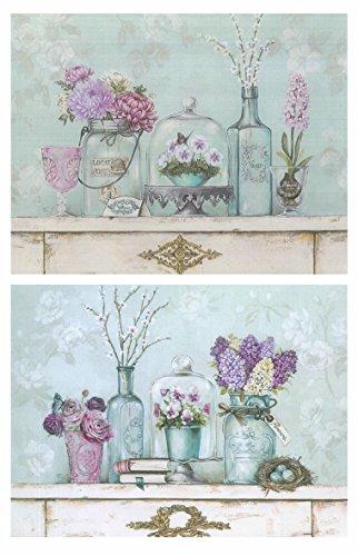 Dcine Cuadros Motivo Floral Tonos fríos Pastel Violeta