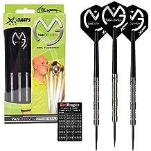 Michael Van Gerwen XQ Max - 90% Tungsten Darts (Steel Dartpfeile) mit Flights, Schäfte, Brieftasche & Red Dragon Checkout Card