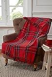 Tartan - Manta de diseño de Cuadros para sofá, Silla o Cama, de algodóny Color Rojo