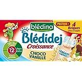 Blédina Blédidej Croissance Céréales Lactées Choco Vanille dès 12 mois 4 briques de 25 cl - lot de 3