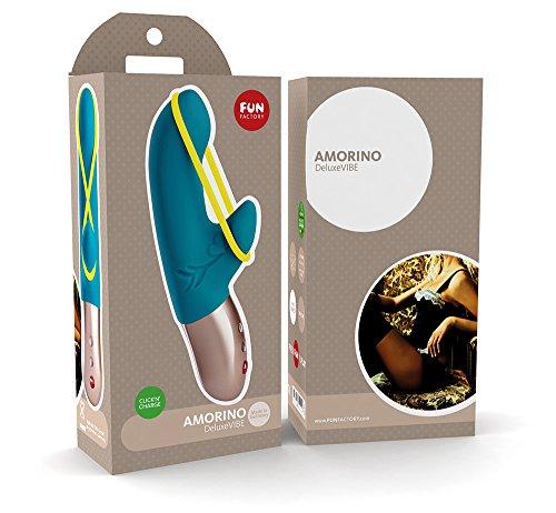 Fun Factory AMORINO türkis Silikon mini Vibrator für sie mit Stimulationsband (Set inkl. tollen Zubehör) für die klitoris und g-punkt Akku -