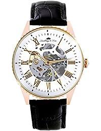 Lindberg & Sons CHP153 - Reloj análogico para hombre de pulsera (esqueleto automático), correa de cuero negra