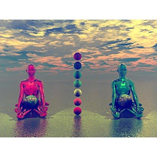 Pitaara Box PB Buddha & Chakra & Earth Peel & Stick Vinyl Wall Sticker 32 x 24inch