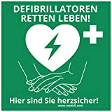 MedX5 (Upgrade 2019) Defibrillator (AED) Standort Kennzeichnung 20cmx20cm, Aufkleber, Defi Standortschild, AED Markierung