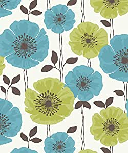Fine Decor Poppie Designer Feature Wallpaper lime / teal Flowers FD14865