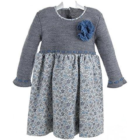 Isabel Maria-Vestito da ragazza, di lana grigio con gonna con stampa