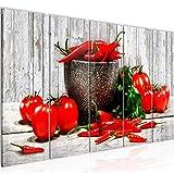 Bilder Küche - Gemüse Wandbild 150 x 60 cm Vlies - Leinwand Bild XXL Format Wandbilder Wohnzimmer Wohnung Deko Kunstdrucke Rot 5 Teilig - MADE IN GERMANY - Fertig zum Aufhängen 005856b