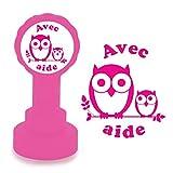 Xclamations Tampon Auto-encreur pour Enseignant - Avec aide - Couleur Rose. Design de Hibou Mignon