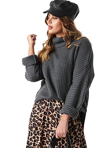 NA-KD Strickpullis gibt es in tollen Looks und zu günstigen Preisen | Kuscheliger Pullover in Oversize-Größe mit Rollkragen und seitlichen Schlitzen in verschiedenen Farbnuancen erhältlich
