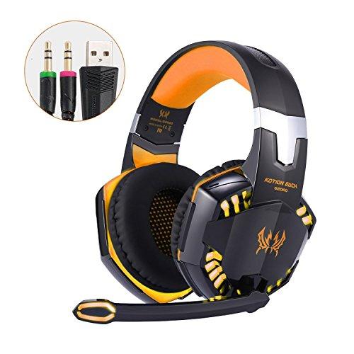 Gaming Headset Virtueller Surround Sound Gaming Stereo Bass Kopfhörer mit Mikrofon LED Licht Geräuschunterdrückung und Lautstärkeregelung für PC Laptop