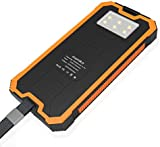 Solar Charger 16000mAh Power Bank moniko Portable Phone Charger External Battery Pack with Dual USB 2 Ports and LED Flashlight Outdoor Waterproof for iPhone iPad Android Samsung HTC and Other Mobile Phones (Orange)