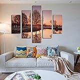 CWLLWC Bilder wandbild, Wandgemälde Wandkunst für Leben HD Inkjet Malerei Bild des Baumes Lake Side mit Reflexion Haus Dekoration Wandbilder Malen auf Canva S