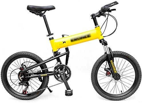 WJSW Kinderfahrräder Reisefahrrad Erwachsene Klapp Mountainbike Jugend Outdoor Bergsteigen Fahrrad Mittelschüler Rennrad (Farbe: Gelb, Größe: 20 Zoll)