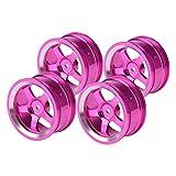 4 STÜCKE RC Radnaben, 1:10 Aluminiumlegierung Reifen Felgen Hubs RC Zubehör für RC Auf Straße Drift Car 5 Farben(Rosa)