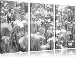 Wundervolle Blumenwiese Kohle Zeichnung Effekt 3-Teiler Leinwandbild 120x80 Bild auf Leinwand, XXL riesige Bilder fertig gerahmt mit Keilrahmen, Kunstdruck auf Wandbild mit Rahmen, gänstiger als Gemälde oder Ölbild, kein Poster oder Plakat